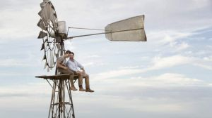Russell Crowe with Ryan Corr on the set of <i>The Water Diviner. </i>